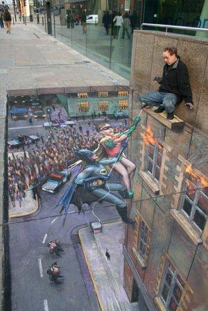 Pintura guapa en acera de Tiza. Rescate de Batman y Robin